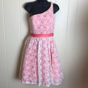 Mori Lee Pink One Shoulder Semi Formal Prom Dress